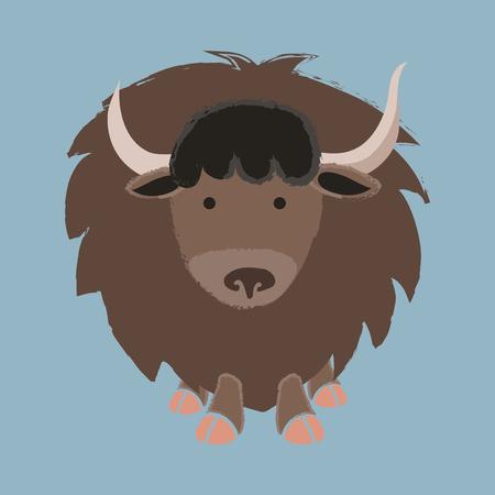 Illustration style de la faune - Yak Banque d'images - 86108813