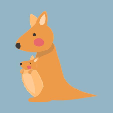 그림 스타일의 야생 동물 - 캥거루 일러스트