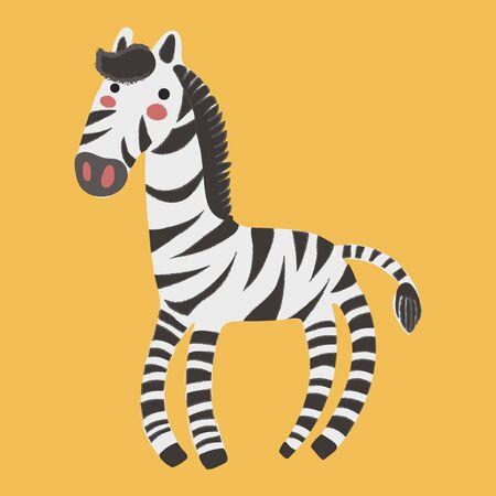 Illustratiestijl van dieren in het wild Zebra Stock Illustratie