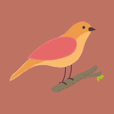 Illustration style bird perching on tree branch Çizim