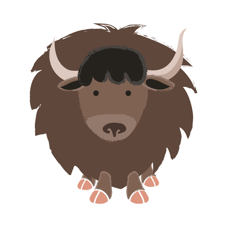 Illustration style of wildlife Yak