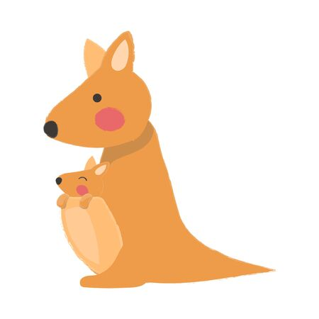 Illustration style of wildlife Kangaroo Illustration