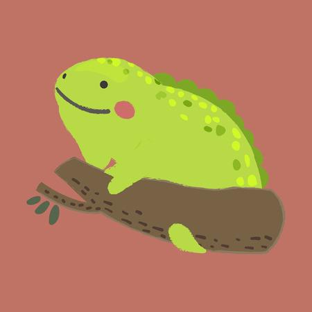 Illustratie stijl van dieren in het wild Chameleon