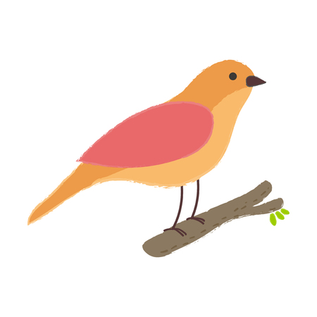 Illustration style of bird on a tree branch