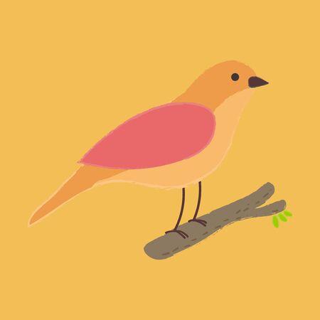 Illustratie stijl van een vogel op boomtak Stock Illustratie