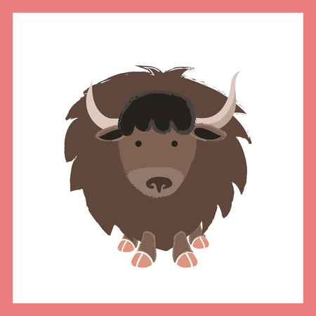 Illustration style of a Yak