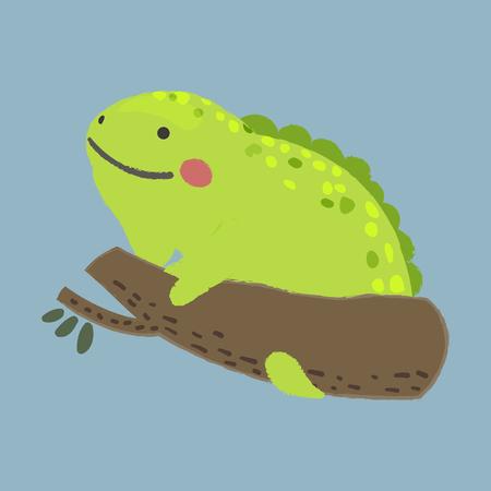 野生生物 - イグアナのスタイルのイラスト  イラスト・ベクター素材