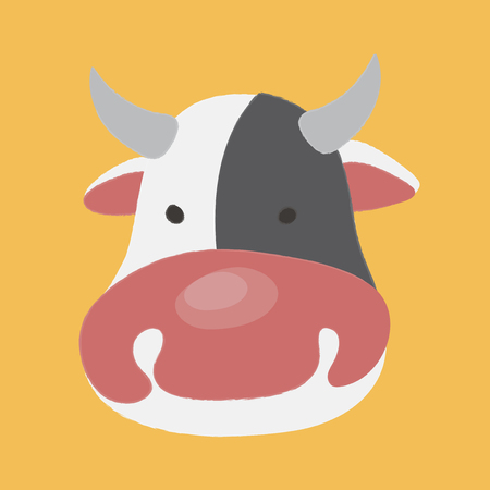 Illustration style of animal - Cow vector illustration