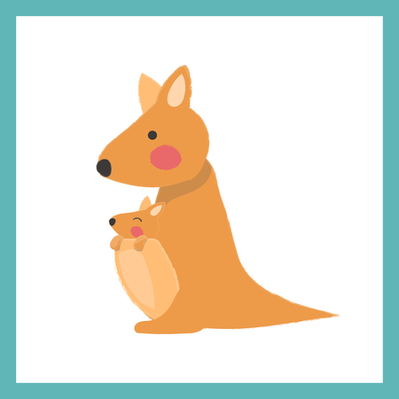 Illustration style of wildlife - kangaroo vector illustration Illustration