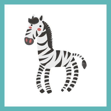 Illustratiestijl van dieren in het wild - Zebra Stock Illustratie