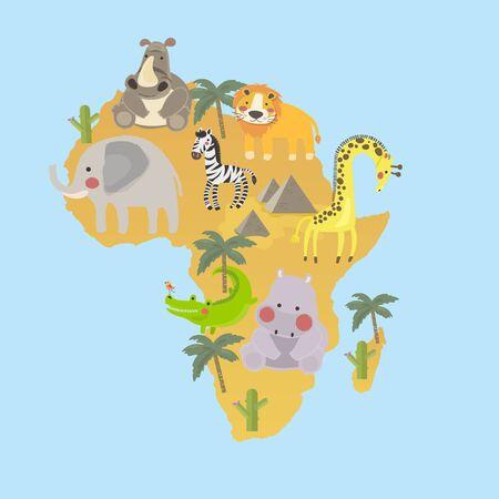 マップ上の動物起源のスタイルのイラスト  イラスト・ベクター素材