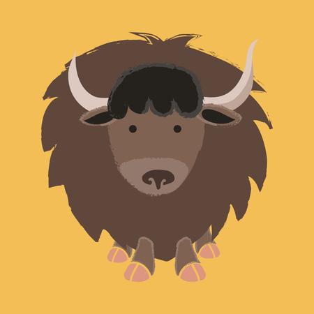 Illustration style de la faune - Yak Banque d'images - 86108910