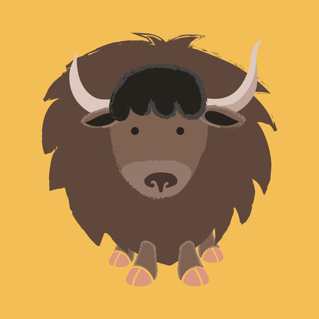 Illustration style of wildlife - Yak