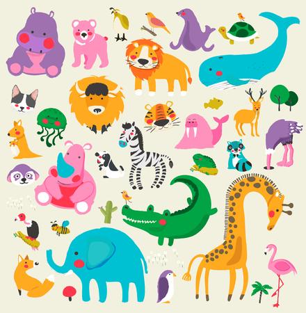 Illustration of wildlife animals set