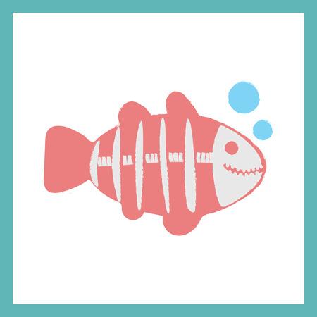 X 線魚のイラストのスタイル