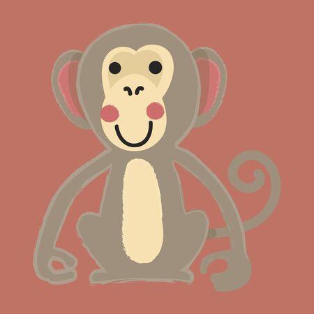 Illustration style of wildlife monkey