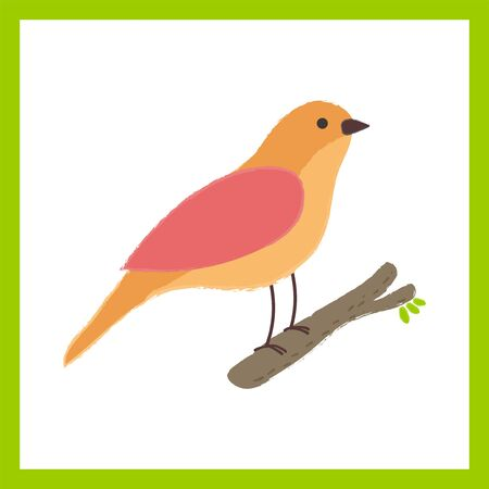 Illustration style of bird perching on branch isolated inside a green border  white square shaped Illustration