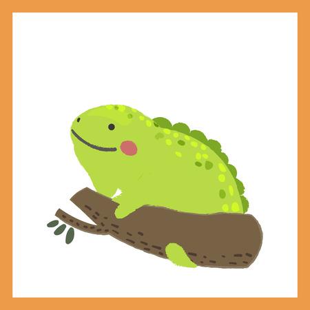 Illustration style of wildlife chameleon Иллюстрация