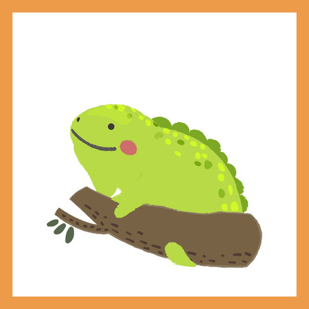 Illustration style of wildlife chameleon Illustration