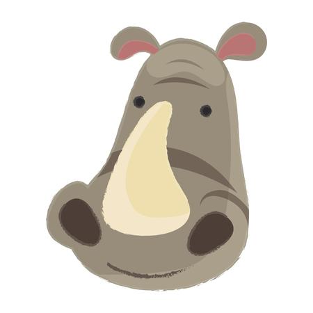Illustratie van dieren in het wild - neushoorn Stock Illustratie