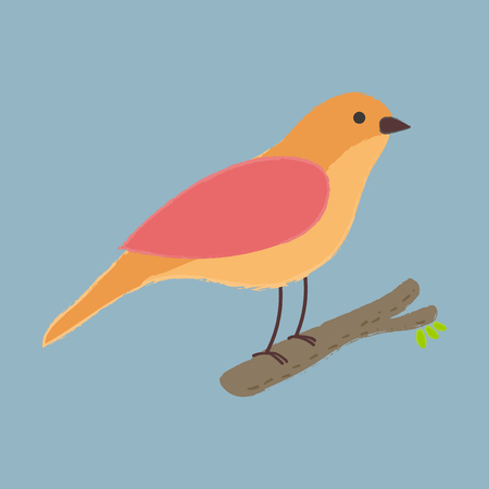 Illustration style of bird perching on branch isolated on a blue background