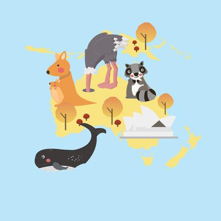 動物とその起源青い背景に分離されたマップ上のイラストのスタイル  イラスト・ベクター素材