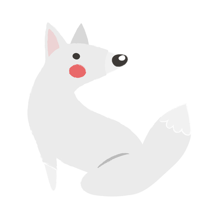 Illustration style of wildlife - Arctic Fox vector illustration Çizim