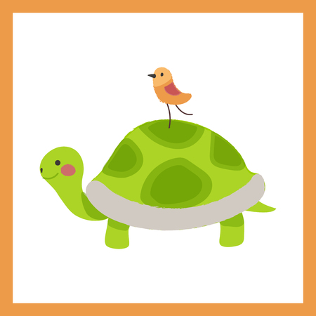 Illustration style of animal - Bird on Tortoise vector illustration
