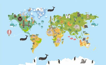 Origen del estilo de ilustración de los animales en el mapa Ilustración de vector