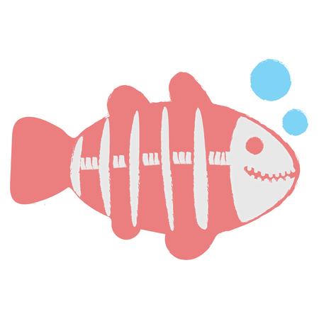 엑스레이 물고기의 일러스트 스타일