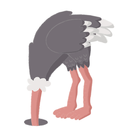Illustration style of wildlife - Ostrich. Çizim