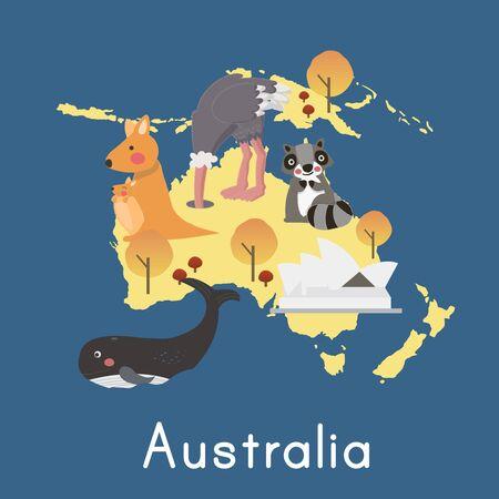 Ilustración estilo de origen de los animales, Australia. Ilustración de vector