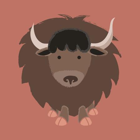 Illustration style of wildlife - Yak. 向量圖像