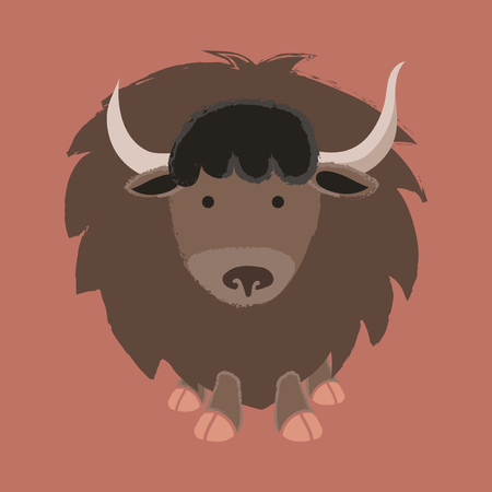 Illustration style of wildlife - Yak. Illustration