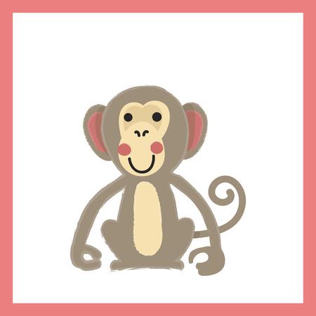 Illustration style of wildlife -  Monkey.