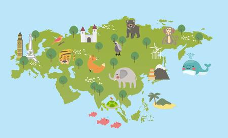 地図上の動物のイラスト スタイルの起源  イラスト・ベクター素材