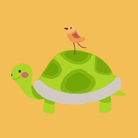 Illustration style of animals - Bird on Tortoise.