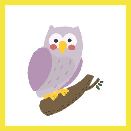 Illustration style of wildlife, Owl.