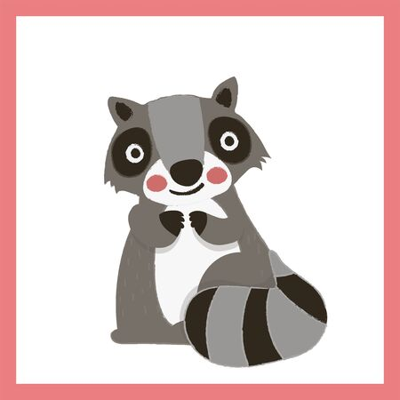 Illustration style of raccoon. 向量圖像