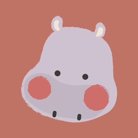 Illustration style of wildlife - Hippopotamus.