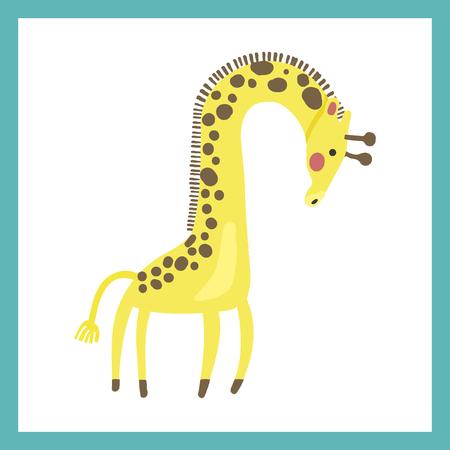 Estilo de ilustración de la vida silvestre - jirafa. Foto de archivo - 86041892