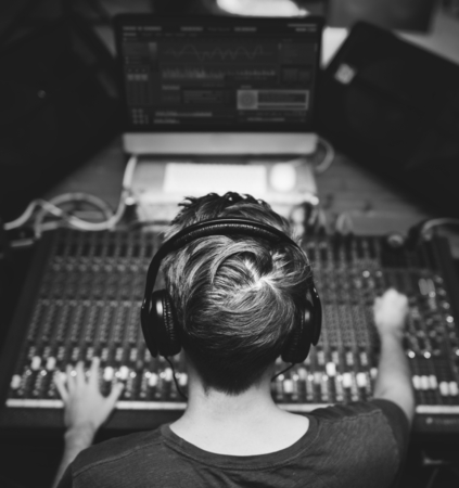 DJ is on a mixer station Stock Photo
