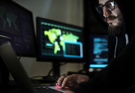 Hacker hacking a cyberspace network