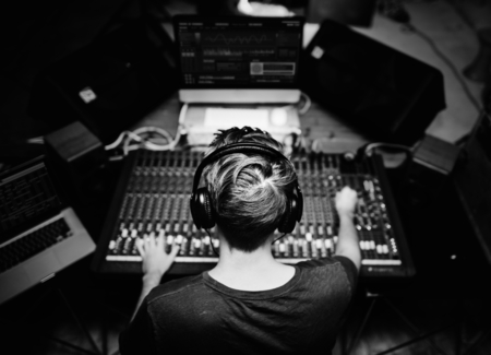 DJ is on a mixer station Stock fotó