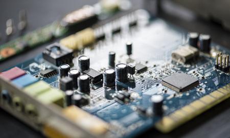 Closeup of electronics computer components microprocessors mainboard Фото со стока - 86192380