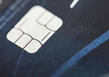 EMV 신용 카드 칩 매크로의 근접 촬영