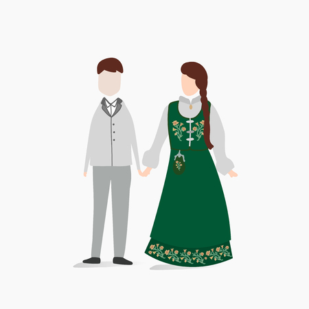 Norwegian traditional wedding dress Ilustração