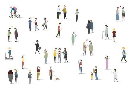 Set of illustrated people Çizim