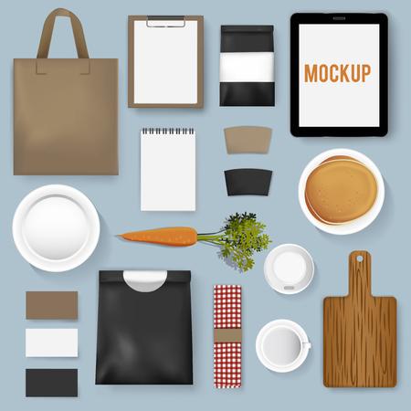 Mockup set verzameling van een koffie café Stock Illustratie