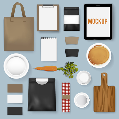 Mockup set collection of a coffee cafe